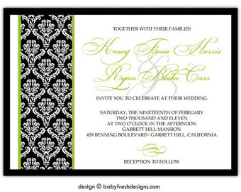Black and Lime Green Traditional Damask Wedding Invitation • PRINTED on CARDSTOCK