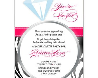 Digital File - Bachelorette Party or Bridal shower invites //you can change the colors// - Rebecca design