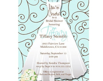 Digital File - Bridal Shower Invitation  //you can change the colors// Tiffany design