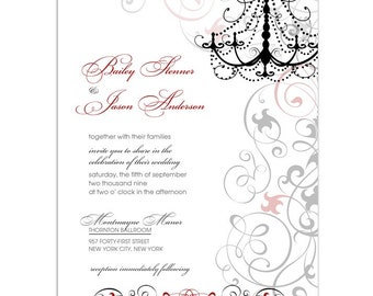 Digital File - Wedding or Bridal Shower Invitation  //customize with your colors// - Chandelier design