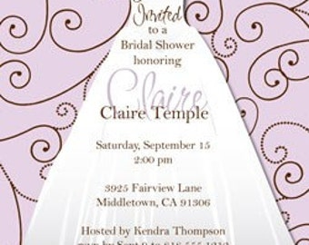 Digital File - Bridal shower invites //you can change the colors// - Claire design