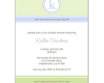 Digital File - Baby Shower Invitation //you can change the colors// Kallie design