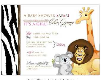 Digital File - Baby Shower Invitation //you can change the colors// Celia design
