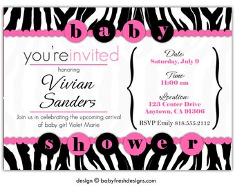Zebra Print Baby Shower Invitations • Diva Girl Baby Shower Invites • Hot Pink and Black • PRINTED on CARDSTOCK