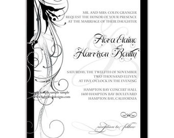 Digital File - Wedding or Bridal Shower Invitation  //customize with your colors// - Flourish design