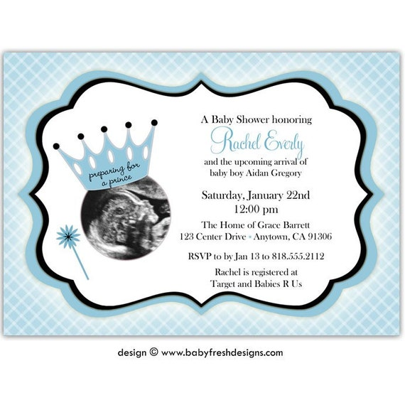 DIGITAL - Baby Shower Invitation with or without Ultrasound/Sonogram photo //you can change the colors// Rachel design
