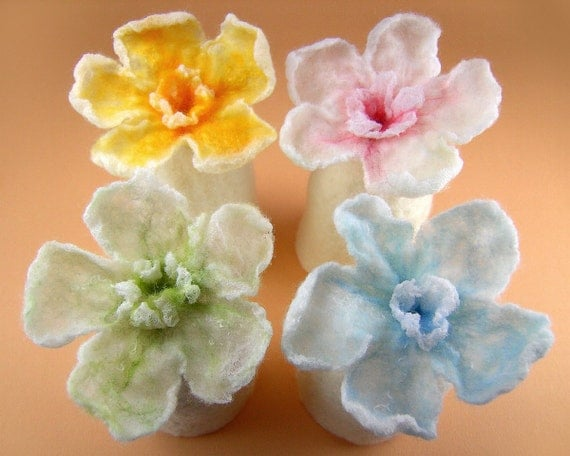 Set of Two Felted Egg Cozies with Nunofelt Flowers for Easter Decoration, Easter Table