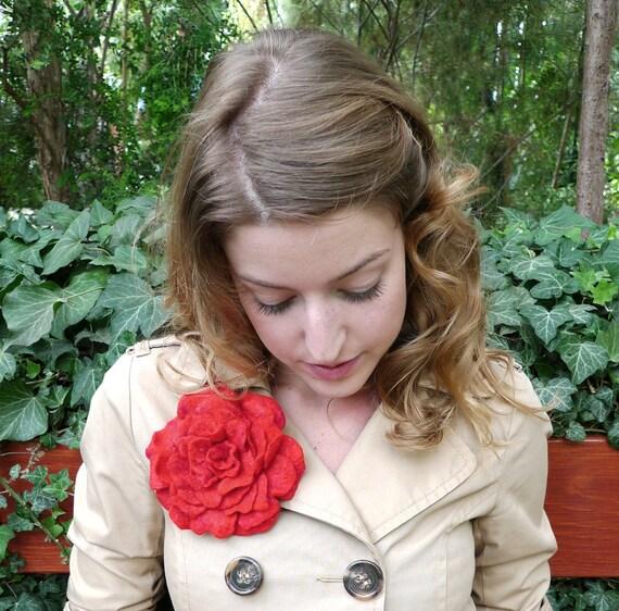 Felt Rose, Felted Red Rose Brooch
