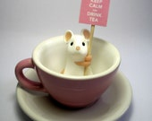 Pink Teacup Mouse - 'Keep Calm and Drink Tea'