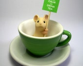 Green Teacup Mouse - 'Keep Calm and Drink Tea'