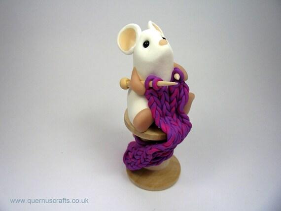 Little Knitting Mouse Ornament Sculpture