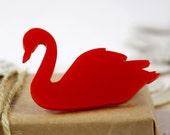 Red Swan - Acrylic Perspex Brooch Pin