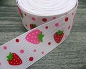 1 yd, 1 inch Strawberry on White Grosgrain Ribbon