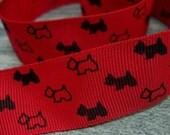 1 yd, 1 inch Black Scottie Dogs on Deep Red Grosgrain Ribbon