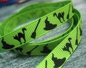 2 yds, 3/8 Happy Halloween on Acid Green Grosgrain Ribbon