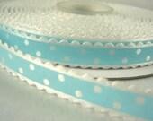 2 yds, 3/8 Blue Scallop White Swiss Dots Satin Ribbon