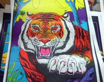 Vintage 1970's Tiger Poster Print - Neon Colors