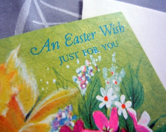 Vintage Norcross Easter Wish Card from before the 70s with original envelope