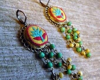 OOAK Vintage Fabric Flower Nepal Earrings