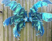 Large Blue Iridescent Fairy Wings.