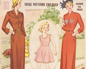 Vintage Dress Patterns  1950  Australian Home Journal, contains 3 dress Patterns plus much more