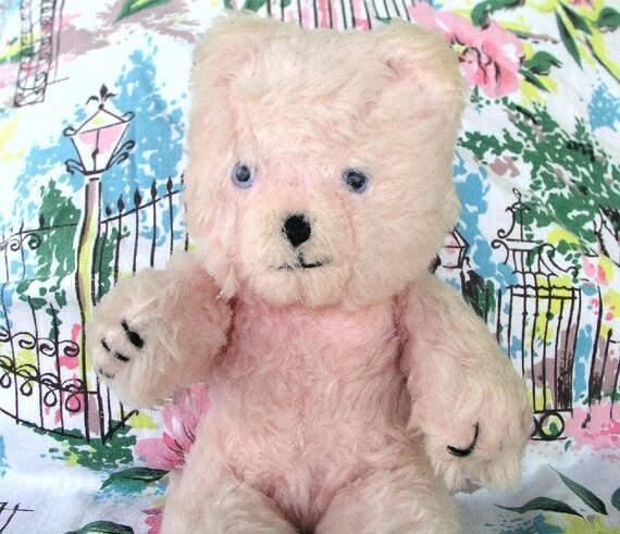 Teddy Bear, 1960s Australian Jakas Teddy Bear, Light Pink, 12-1/2  inches Tall