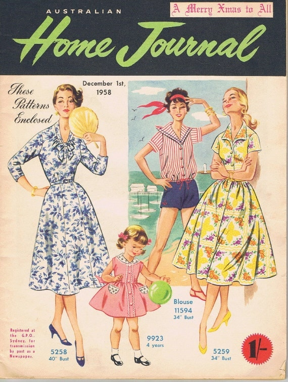 vintage fashion magazine 1958 australian home journal