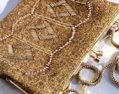 Vintage Gold Beaded Handbag Made in Hong Kong Excellent Condition
