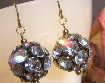 Discotheque.....Large Vintage Rhinestone Bead Ball Earrings