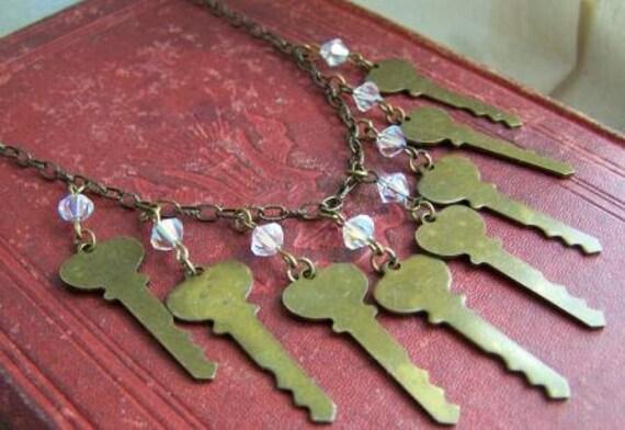 Keeper of Secrets - Upcycled Steampunk Vintage Key Necklace