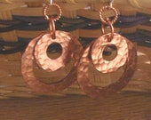 Circles of Hand Hammered Bright Copper Earrings
