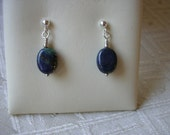 Azurite and Sterling Silver Post Earrings
