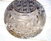 Vintage Crystal Bowl, McKee Prescut Cr.1904, Beautiful Estate Daisy Pattern and Sawtooth Edge
