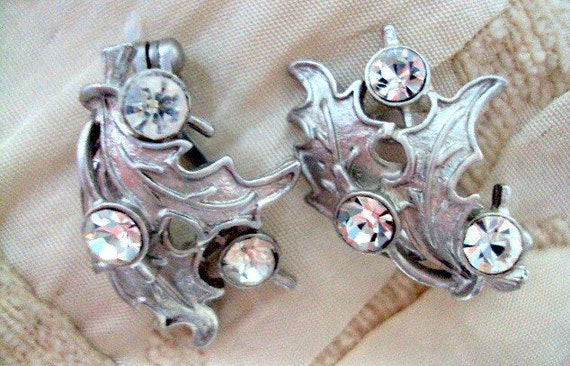 Vintage Weiss  Earrings Beautiful Estate Signed Clip On with Brushed Silvertone and Frame Set Rhinestones           RESERVE for Sherri
