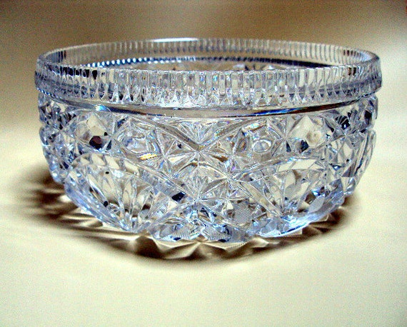 Vintage European, Pressed Glass Bowl for Serving or Fruit  cr. 1940s.  I take CREDIT CARDS