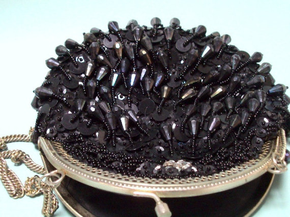 Vintage Beaded Purse  cr.1930, Estate Collection Black with Black beads,crystal, sequins evening, satin lining    I take Credit Cards