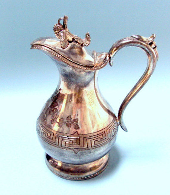 Vintage Meriden B Company Silverplate Pitcher, cr. 1870s with Figural Grapes and Leaves on the Top  I take CREDIT CARDS