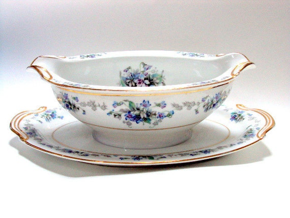 Vintage Noritake Gravy Boat with attached Underplate. Cr. 1948, Discontinued Violette Pattern  RESERVE for Kathy
