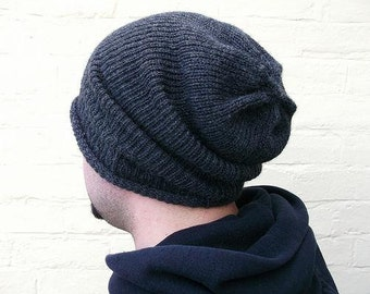 Mens knit hat, oversized baggy beanie, cable design, custom made in any colour.