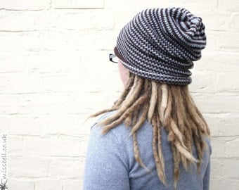 Striped dreadlock hat, beanie for dreads, warm oversized hat, custom made in any colour.