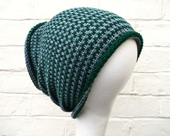 Dreadlock tube hat, large stripey hair wrap in gray/grey and green.
