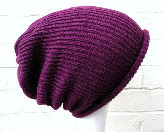 Slouch knit hat, womens baggy beanie, in plum.