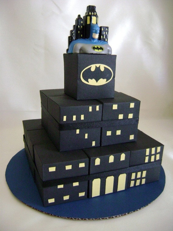 Batman Theme Square Favor Box Cake