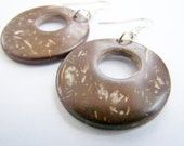 FREE SHIPPING WAI - Natural Brown Coconut Hoop Earrings - beach jewelry - ocean inspired - unstained - sandy - beige - natural wood