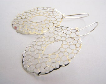 Sea Foam Silver Filigree Earrings: Affordable gifts for everyday wear - bridesmaids sets - beach inspired treasures