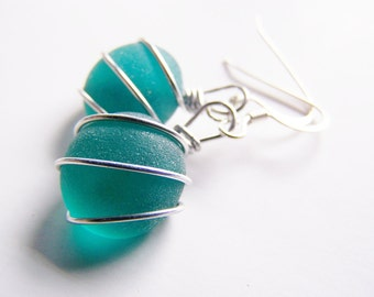 Tahitian Teal - Blue Green sea glass earrings - sterling silver - low shipping - a perfect gift - bridesmaids - weddings