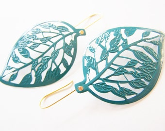 Leaf Earrings - teal - big and bold statement jewelry - nature jewelry - Summer - bright - Affordable gifts and other colors available also
