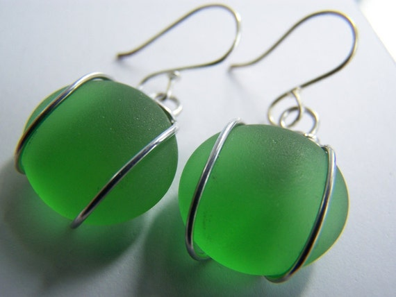 Lush Green SEAGLASS earrings - low shipping & pendant also available- Affordable gifts- bridesmaids sets- weddings- other colors available