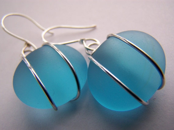 Bahama Blue SEAGLASS earrings - low shipping & pendant also available - a perfect gift for everyday wear or bridesmaids gifts and weddings.