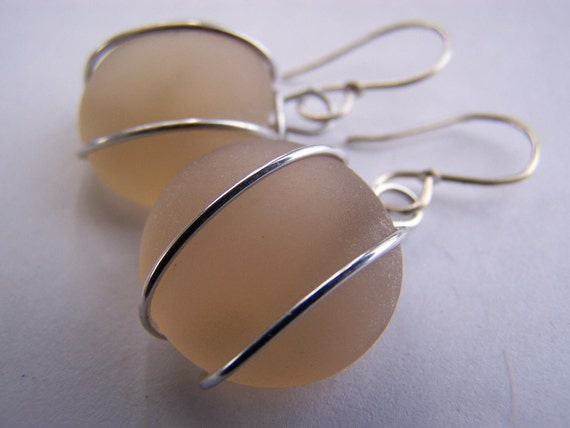 Peach SeaGlass earrings - affordable gifts - bridesmaid sets - everyday treasures